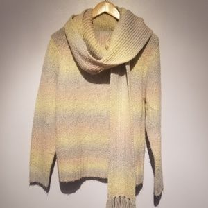 Woolrich Pastel Cowl Neck Sweater/Scarf Set